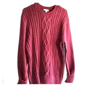 Deep Burgundy - •Gap•   Cable-Knit Sweater